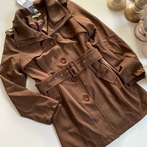 Brown Belted Trench Style Coat